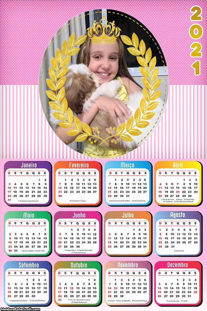 Calendário para Meninas Princesa 2021