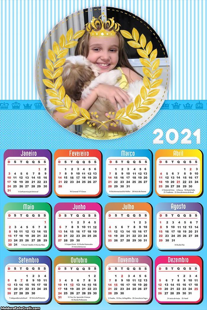 Calendário para Meninos Príncipe 2021