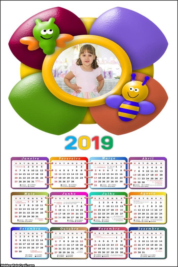 Calendário Abelhinha 2019 Moldura