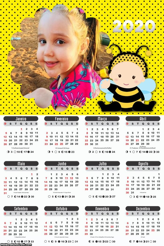 Calendário Abelhinha Baby 2020