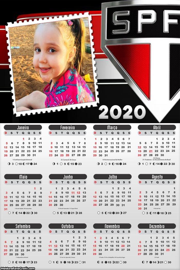 Calendário SPFC 2020 Moldura