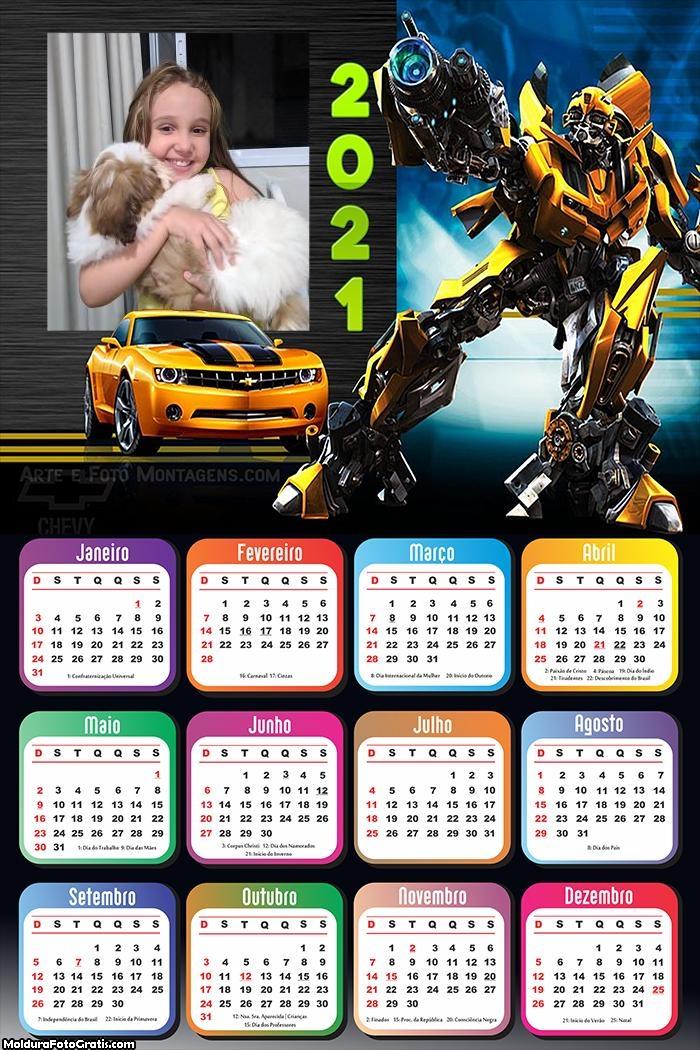 Calendário Transformes 2021