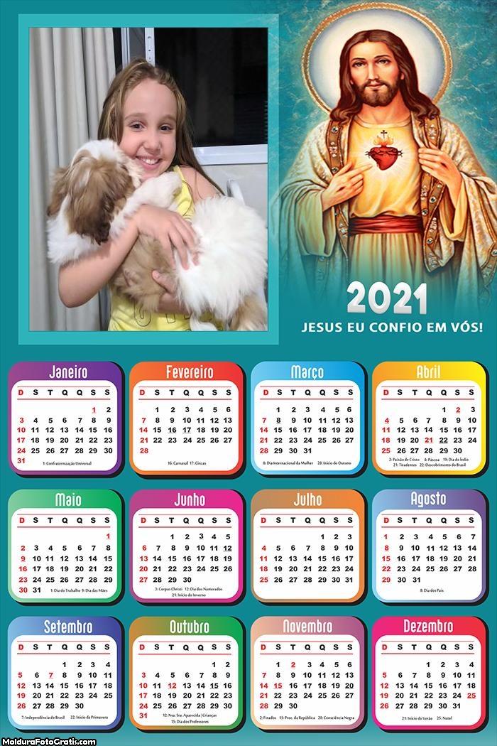 Calendário Jesus eu confio em vós 2021
