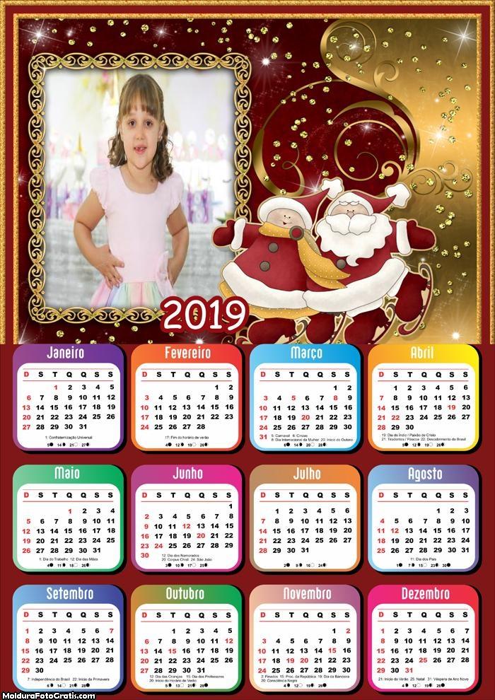 Calendário Desenho Mamãe e Papai Noel 2019
