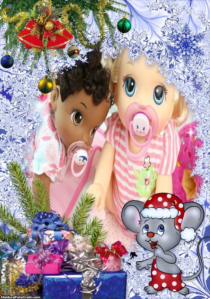 Ratinho Presentes de Natal FotoMoldura
