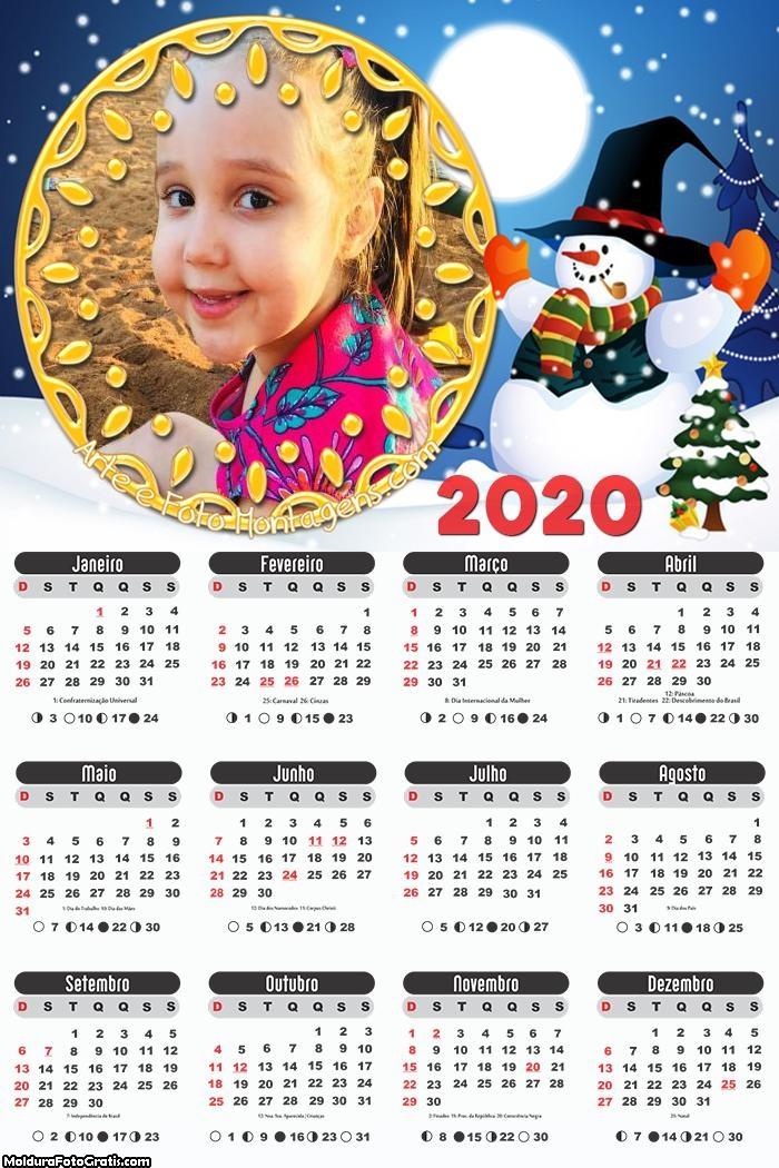 Calendário Boneco de Neve Natal 2020