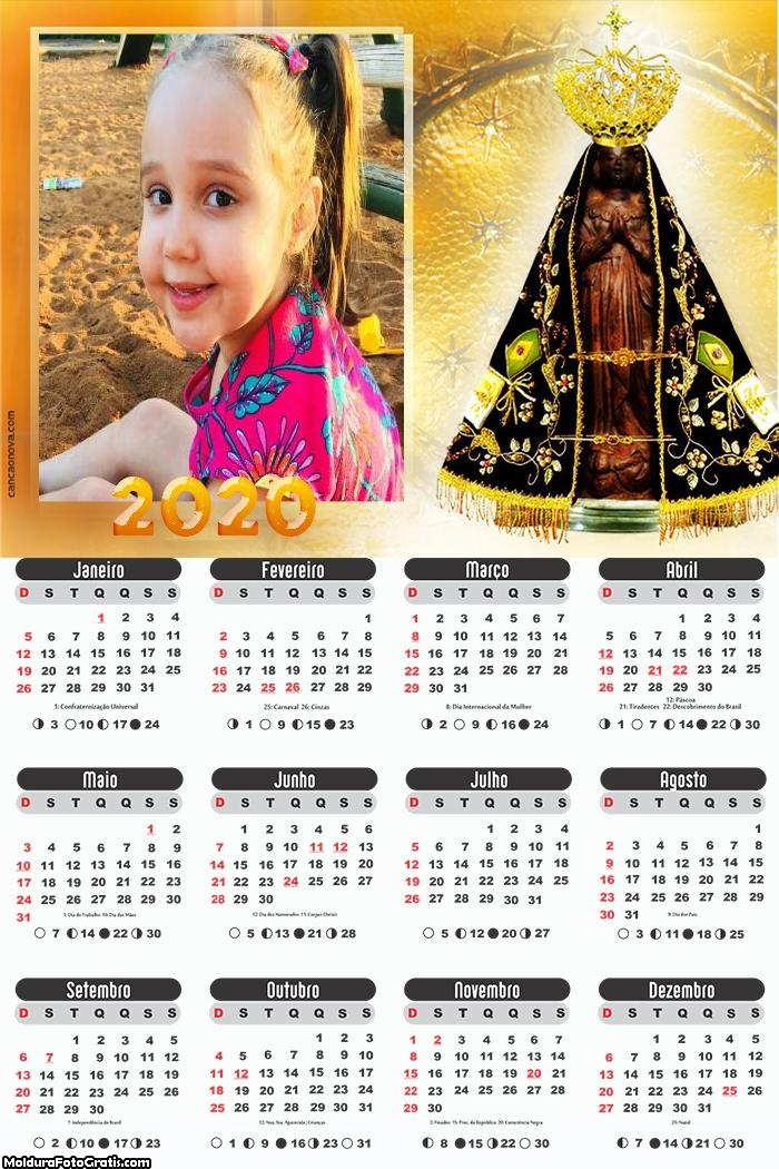 Calendário Nossa Senhora Aparecida 2020