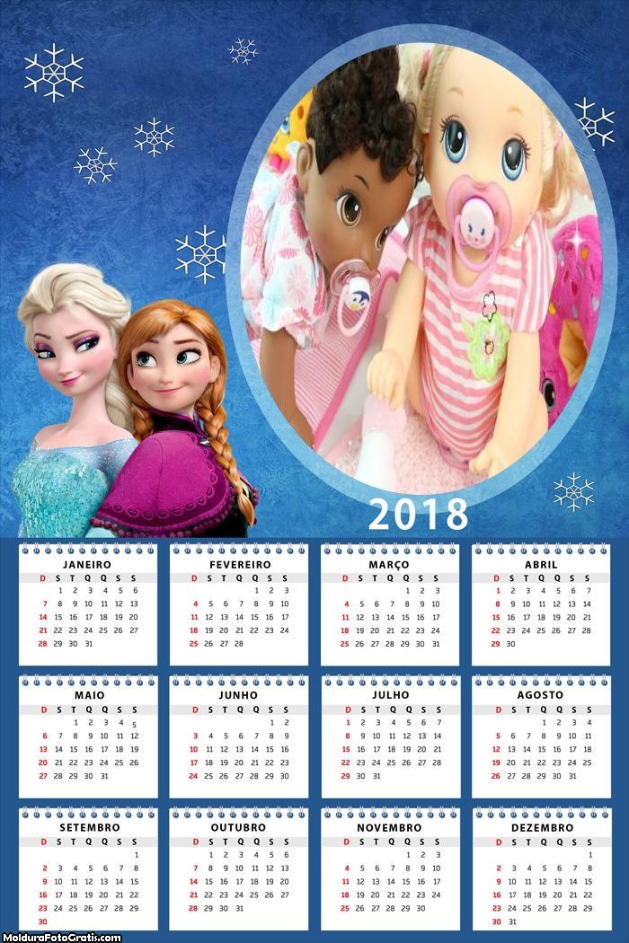 Calendário Elsa e Anna 2018 Frozen