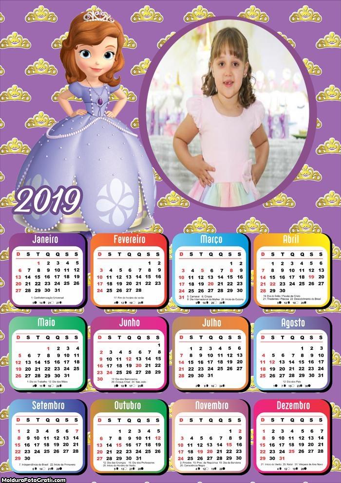 Calendário Princesa Sofia 2019 Moldura