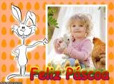 Feliz Páscoa Coelho Branco Moldura