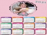 Calendário Elefantinho Rosa e Cinza 2021