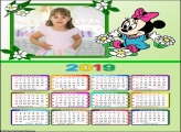 Calendário Minnie Baby 2019 Moldura