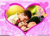 Moldura Coração Cor de Rosa