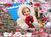 Árvore de Natal Cor de Rosa Moldura