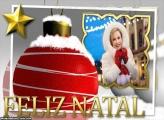Feliz Natal Bola com Neve Foto Moldura