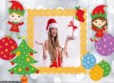 Ajudandes de Papai Noel Cute Moldura