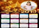 Calendário Estrelas de Ano Novo 2019