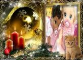 Gato de Verdade no Natal FotoMoldura