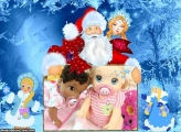 Papai Noel e Menininha FotoMoldura