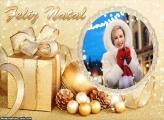 Presente de Ouro Feliz Natal Foto Moldura