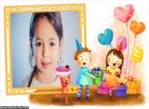Presentes no Aniversário Infantil Moldura