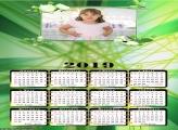 Calendário Flores Verde 2019