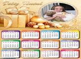 Calendário Feliz Natal Presente Dourado 2021