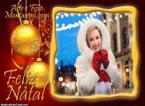 Foto Moldura Bolas Douradas de Natal