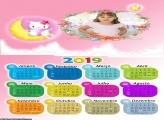 Calendário Hello Kitty na Lua 2019