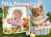 Feliz Páscoa Cachorrinho Moldura