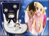 Meia Branca e Azul de Natal