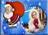 Papai Noel com Saco de Presentes Moldura