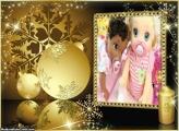 Moldura de Natal Bolas Douradas