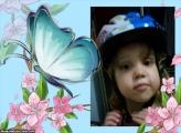 FotoMoldura Borboleta Azul e Flores