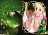 Enfeite Verde de Natal FotoMoldura