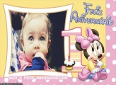 Feliz Aniversário Minnie Baby Moldura